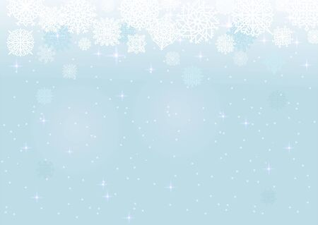 White snow on the blue mesh background, winter and Christmas theme. Abstract vector card with snowflakes
