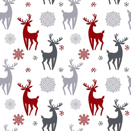 Beautiful simple christmas seamless pattern with silhouette of gorgeous deers and snowflake. Amazing winter holiday wallpaper for your design. Vector flat illustration. Vectores