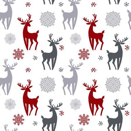 Hermoso patrón sin costuras de Navidad simple con silueta de hermosos ciervos y copo de nieve. Increíble fondo de pantalla de vacaciones de invierno para su diseño. Vector ilustración plana.