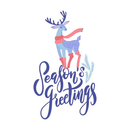 Vector Seasons Greetings lettering design with hand drawn cartoon deer. Christmas or New Years decor. Happy Holidays card, poster concept