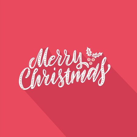 Vector illustration Greeting card with hand lettering type of Merry Christmas on red paper background with falling shadow.