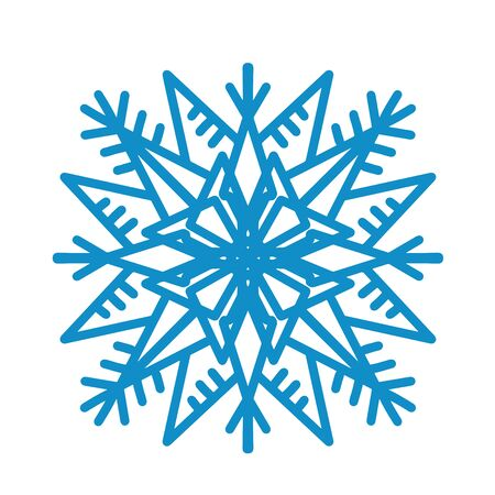 Big blue snowflake icon vector on white background. Single vector flat illustration.