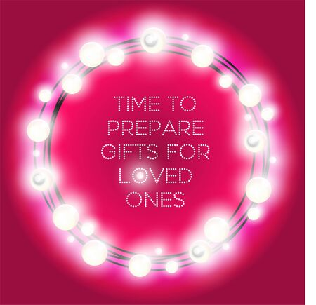 Round frame of Christmas lights. Colorful garlands circle on magenta pink background 向量圖像