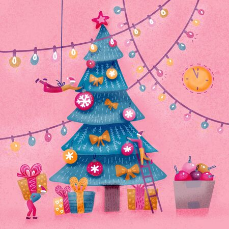 Group of small people decorating christmas tree. Little men wrapping presents under decorated Christmas tree. Xmas card hand drawn simple flat illustration.