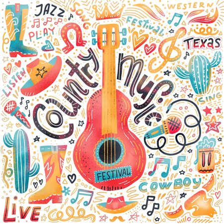 Set of Country music elements for postcards or festival banners. hand drawn illustration in flat doodle style. Guitar with written lettering. 版權商用圖片