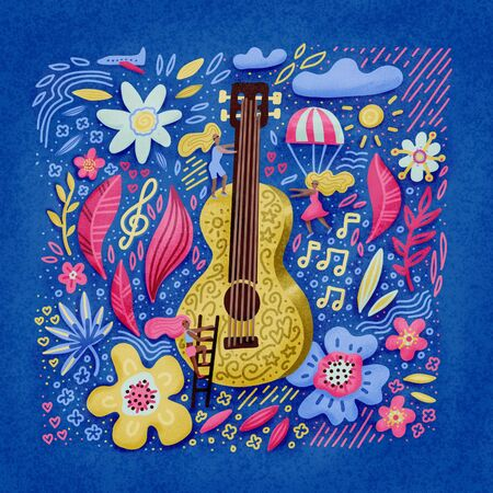 Music festival illustration, guitar with floral flowers art. Small waman near huge guita. Hand drawn banner, poster, postcard or t-shirt print. 版權商用圖片