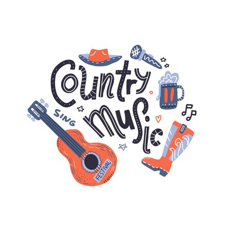 Country music print for postcards or festival banners. Vector hand drawn illustration in flat doodle style. Guitar with written lettering.