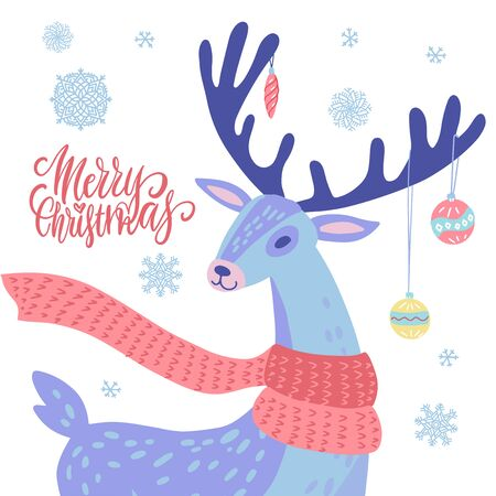 Xmas Fair or market poster, flyer or banner layout template with deer portrait. Reindeer With Christmas balls on antlers and snowflakes decorations. Vector illustration with lettering test.