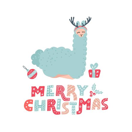 Cute cartoon alpaca with overhead antlers for Christmas holiday. Hand drawn llama character doodle color illustration and Christmas elements with lettering text Merry Christmas for poster or greeting