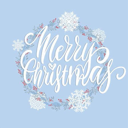 Merry Christmas brush lettering text decorated with hand drawn branches with red berries and snowflakes. Greeting card design element. Vector typography.