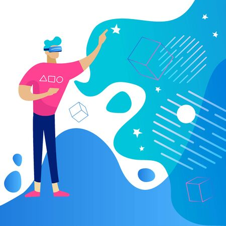 Young man wearing VR headset and touching virtual reality. Augmented Gadget interface for entertainment, technology device for virtual payment or online games. Vector flat illustration. 向量圖像