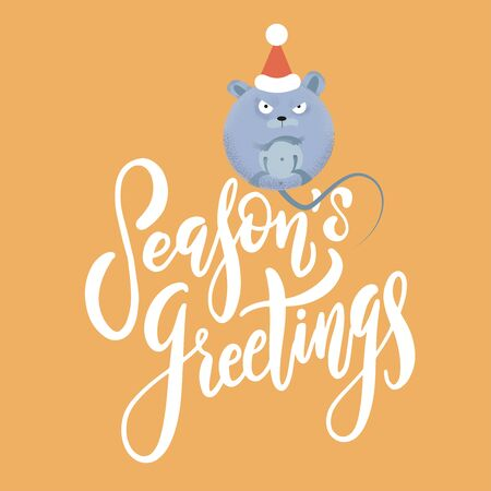 New year and Christmas background with rat - symbol of the year. Simple illustration of round mouse for the greeting card with holiday text Seasons greetings 向量圖像