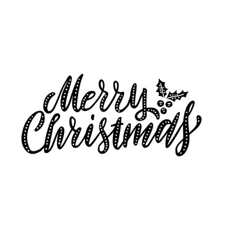 Hand drawn elegant modern brush lettering of Merry Christmas with holly isolated on white background. Vector illustration.