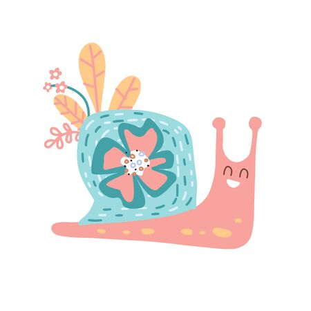 Cute hand drawn nursery poster with snail animal character with flowers and leaves. Vector illustration in candinavian style.