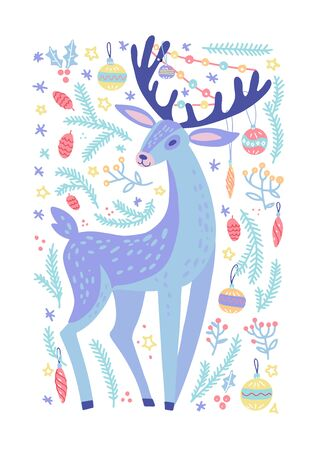 Christmas background with Forest deer animal with a garland on the antlers, green pine twigs, berries, snow. Vector hand drawn illustration. Nature design. Season greeting card. Winter Xmas holidays 向量圖像