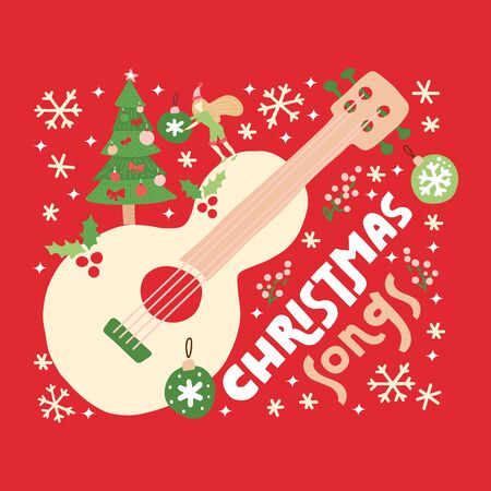 Christmas songs guitar on red background. Vector greeting card with acoustic guitar, decorations and text.