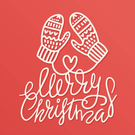 Outlined hand drawn Christmas warm mittens with lettering qoute merry Christmas. Doodle vector illustration for for greeting cards, posters, stickers and seasonal design. Isolated on red background 向量圖像