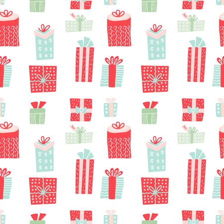 Seamless pattern with gift boxes. Christmas presents and New year decoration. Vector Pattern for fabric, textile, wrapping paper, card, backdrop or other decoration in flat doodle style.