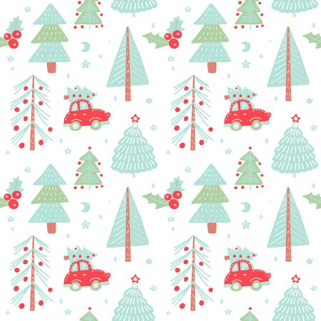 Hand drawn Christmas seamless pattern with christmas trees. Cute red retro car in Winter fir forest. Holiday background. Vector doodle illustration.