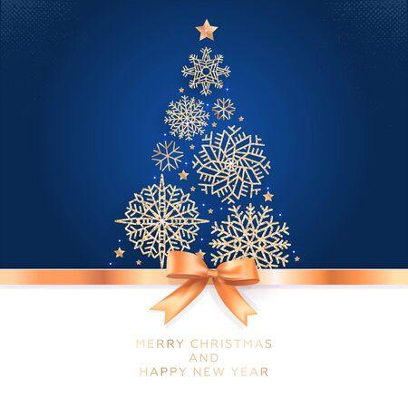 Natale e Capodanno. Biglietto di auguri vettoriale con albero di Natale di fiocchi di neve scintillanti e fiocco dorato.