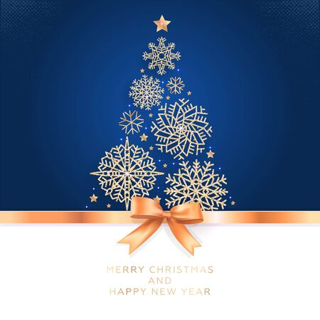 Navidad y Año Nuevo. Tarjeta de felicitación de vector con árbol de Navidad de copos de nieve brillantes y lazo dorado.