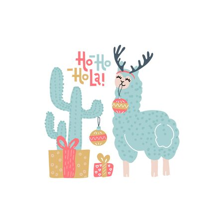 Cute alpaca Christmas greeting card vector templates for kids with cactus, gift boxes, funny color llama with handwritten text - Ho-ho-ho-la. Llama in antlers Decorates Cactus with Christmass balls Imagens