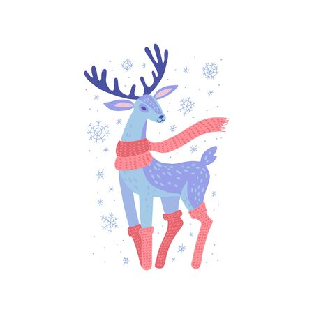 Deer in scarf and knitted stockings. Traditional festive element for christmas decoration, greeting cards and Invitations. Isolated on white background. Flat Vector color hand drawn illustration