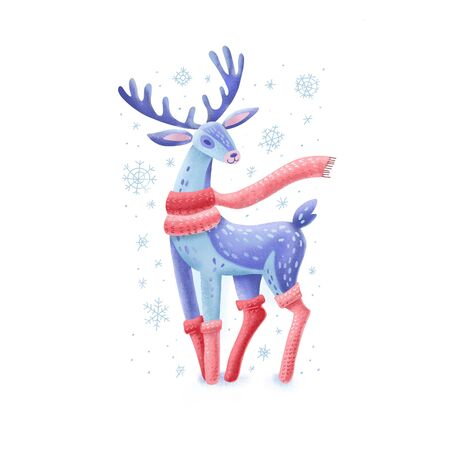 Deer in scarf and knitted stockings. Traditional festive element for christmas decoration, greeting cards and Invitations. Isolated on white background. Flat color hand drawn illustration