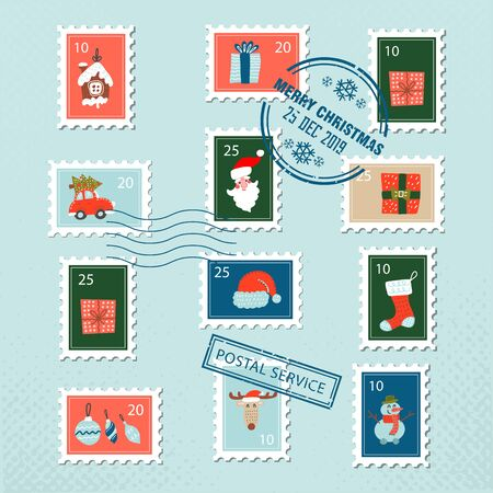 Christmas santa postage stamps for greeting card. Vector set of christmas stamp with flat doodle illustration of xmas decorations and characters.