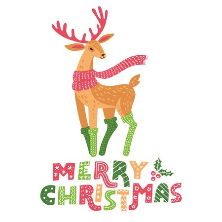 Merry Christmas hand drawn flat reindeer decoration in doodle holiday greeting card design. EPS10 vector illustration 向量圖像