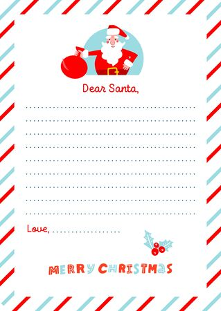 A4 Christmas letter to Santa Claus template. Decorated paper sheet with Canta character illustration and had drawn lettering