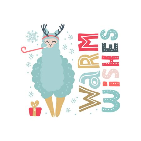 Hand drawn vector illustration of a cute funny llama in deer antlers, with snowflakes, text Warm Wishes. Isolated objects on white. Scandinavian style flat design. Concept for Christmas card, invite