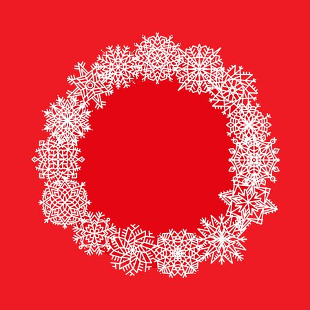 Hand drawn christmas snowflakes frame. Vector winter wreath for gift cards, xmas holiday invitations on red background