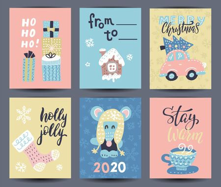 Set of 6 cute gift cards and hand drawn Christmas lettering. Can be used as poster with quote, T-shirt design or home decor element. Vector typography. Easy editable template Ilustração