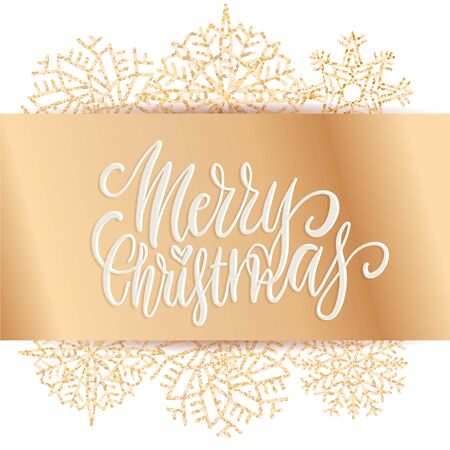 Wide golden bow with Merry Christmas lettering text. Christmas Party poster design template. Luxury shining golden snowflakes peeking out from under the ribbon. Greeting card Vector illustration