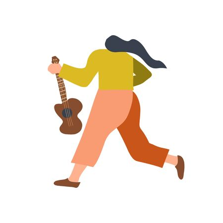 Guitarist with acoustic guitar. Back view of funny music character. Flat vector doodle illustration.