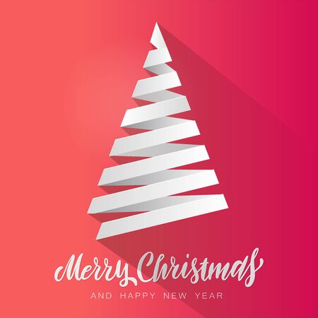 Simple vector christmas tree made from white paper stripe - original Merry Christmas card. Volume paper cut fir like arrow with shadow 向量圖像