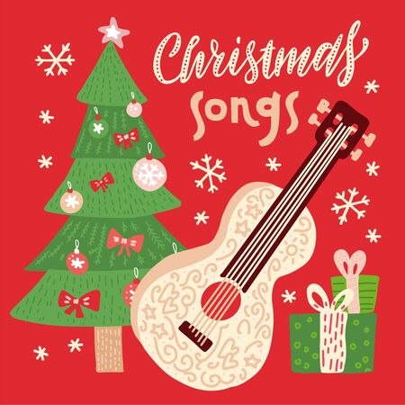 Christmas songs - vector illustration for disc cover with holiday music. Guitar with strings, xmaas tree, gift boxes and snowflakes on background. Ilustração