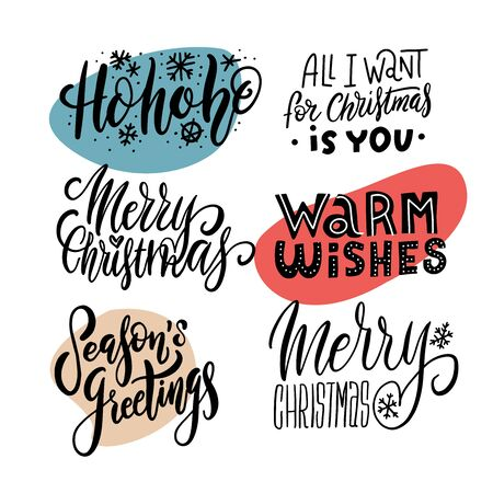 Happy New Year Hand Drawn Emblems Set. Merry Christmas Lettering for Leaflet, Flyer, Advertising Invitation. Vector illustration