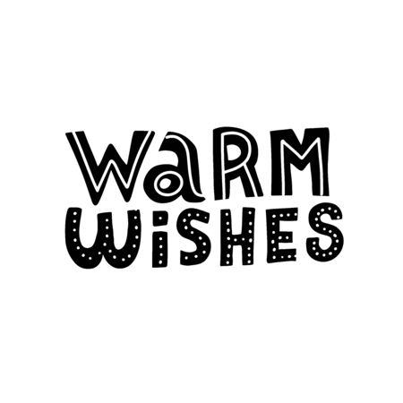 Warm wishes doodle script lettering. Vector words hand painted.