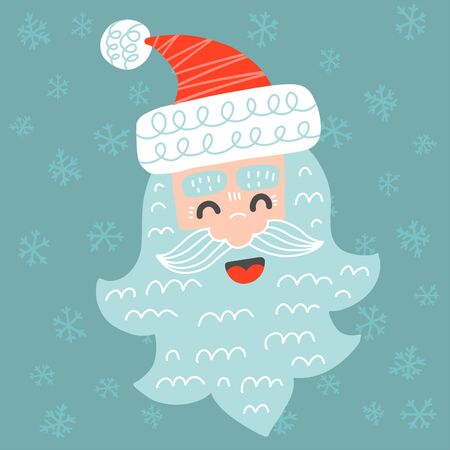 Cute Merry Christmas greeting card with santa claus in childish scandinavian style vector illustration. Merry Christmas greeting card with funny santa claus face.