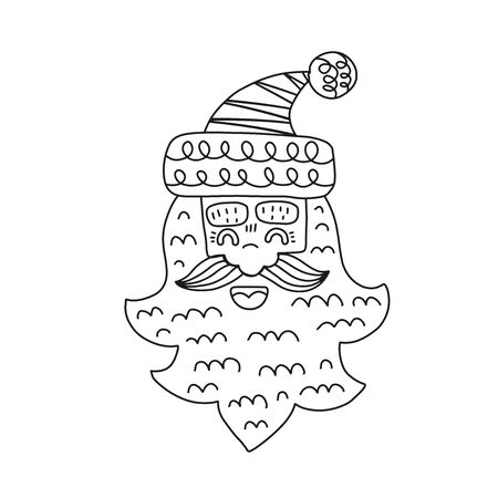 Hand drawn head of Santa Claus on white background.Coloring page for children and adult. Vector illustration.