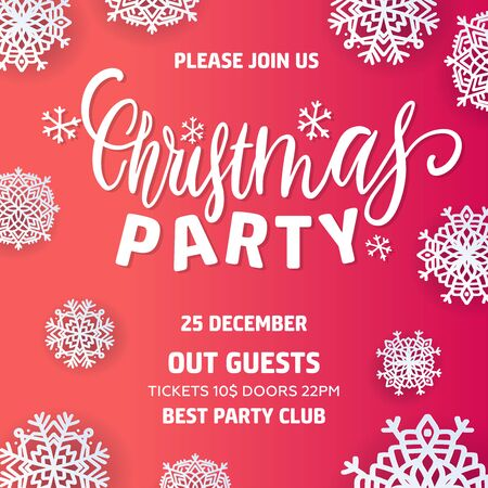 Merry Christmas party invitation and Happy New Year Party Invitation Card Christmas Party poster. Holiday design template Christmas decoration with paper cut snowflakes. Çizim