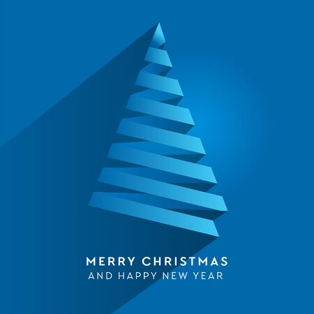 Simple vector christmas tree made from paper stripe - original new year card. Volume blue paper cut fir like arrow with shadow Stok Fotoğraf - 132059943