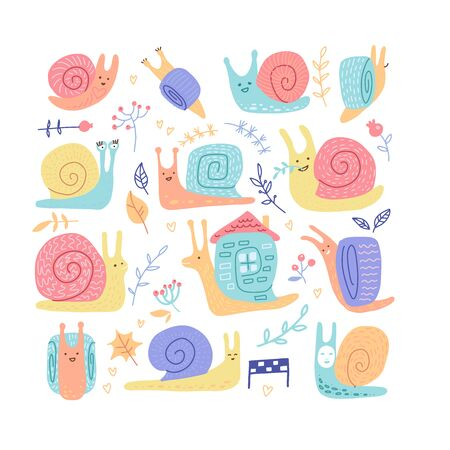 Set of hand drawn childish snails of different behavior shell colours in doodle color style isolated on white background. Flat vector illustration in scandinavian style. Stock fotó