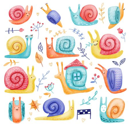 Set of hand drawn childish snails of different behavior shell colours in doodle color style isolated on white background. Flat illustration in scandinavian style. Stock fotó