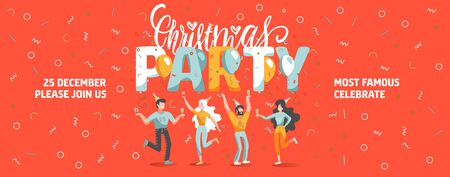 Vector invitation ticket template to Christmas party with funny people dancing and drinking wine. New Year banner with lettering text Ilustração