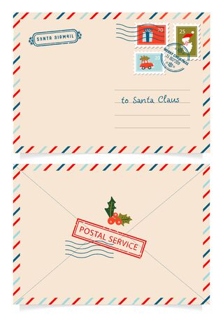 Letter to Santa Claus with stamps and postage marks. Dear santa claus mail envelope. Christmas surprise letter, child postcard with north pole postmark cachet. Postage surprised correspondence. Stock Illustratie