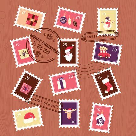 Collection of Christmas stamps. Set for letter envelope. flat vector illustration.