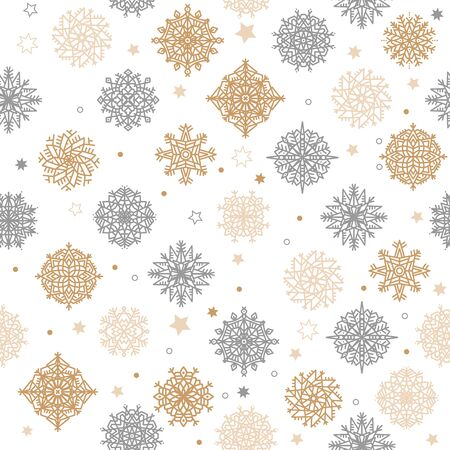 Gold and silver snowflakes and stars seamless pattern on a white background. Vector illustration.